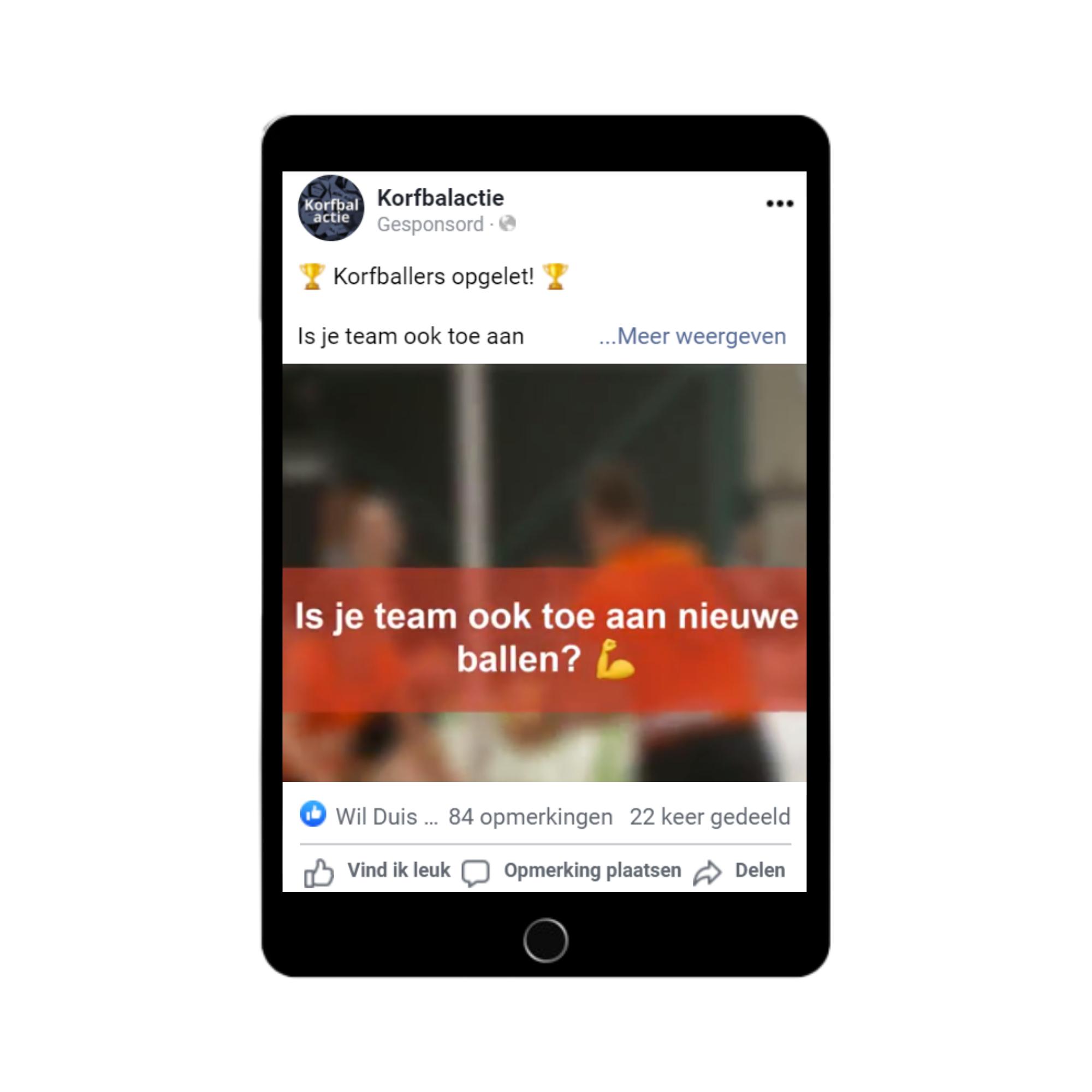 Social media ads Korfbalactie