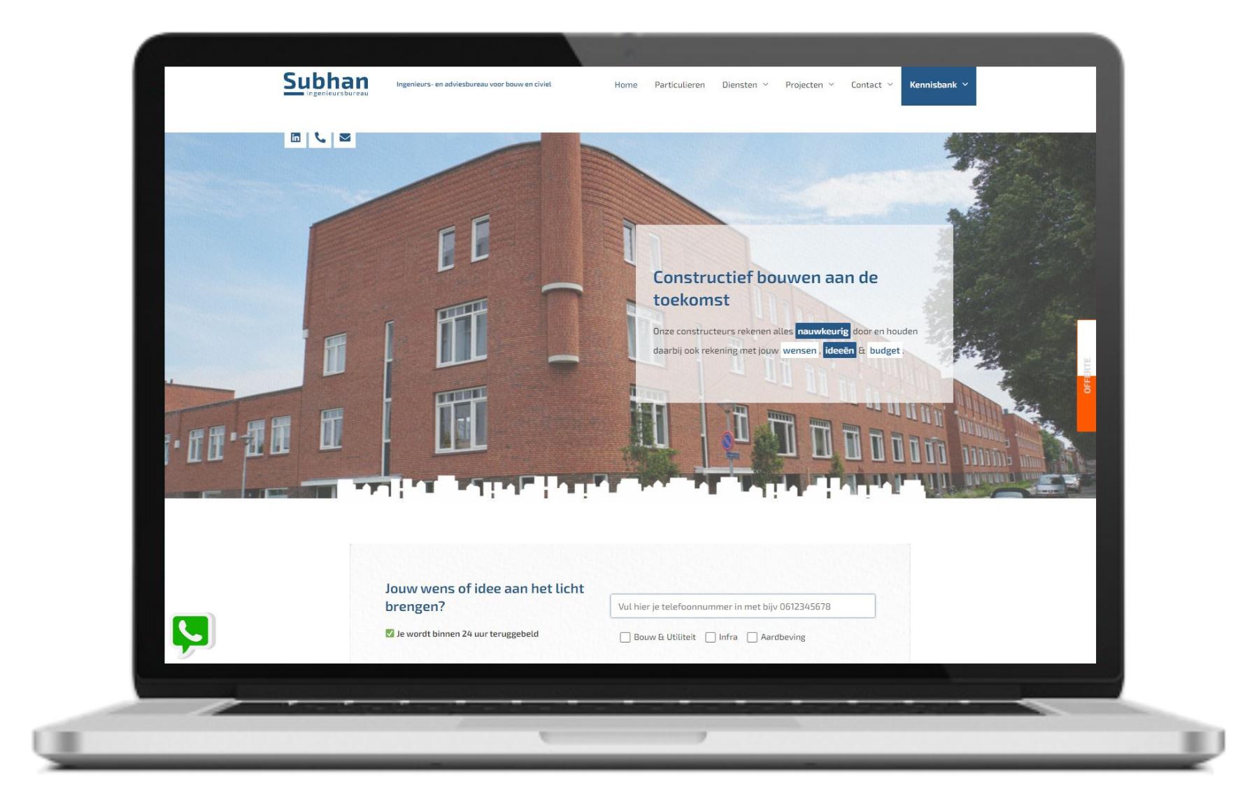 Subhan Ingenieursbureau website mock up